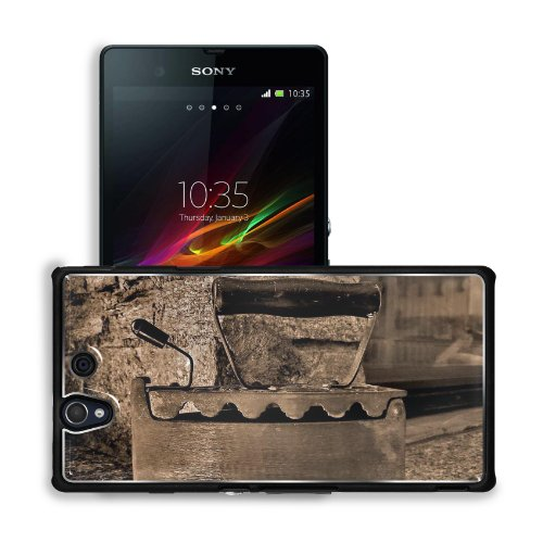 Old Retro Iron Antique Sepia Sony Xperia Z 5.0 C6603 C6602 Snap Cover Premium Aluminium Design Back Plate Case Customized Made To Order Support Ready 5 4/8 Inch (140Mm) X 2 7/8 Inch (73Mm) X 7/16 Inch (11Mm) Msd Sony Xperia Z Cover Professional Metal Case front-635600