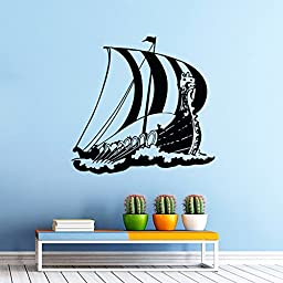 Wall Vinyl Decals Ancient Viking Ship Boat Sticker Kids Nursery Baby Room Sea Ocean Decal Sticker Home Decor Art Mural Z551