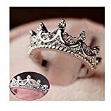Alpertie Fashion Princess Silver Rhinestone Crown Wedding Rings Size 7 8 9
