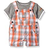 Calvin Klein Baby Boys' Interlock Top with Woven Shortall, Gray/Plaid, 24 Months