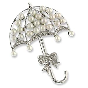 14K White Gold Diamond Umbrella Pin