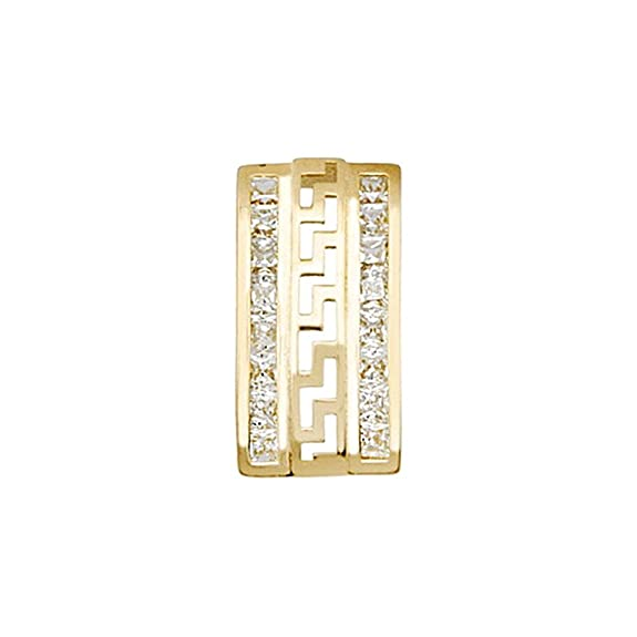 18k gold pendant rhinestones 2mm fretwork. [AA4649]
