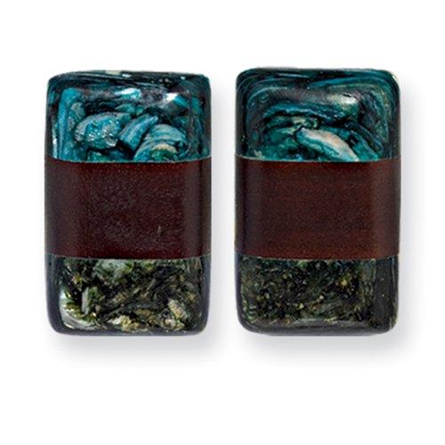 Tapak Wood and Green Blue Broken Capiz 1.5inch Rect. Clip-on Earrings - JewelryWeb
