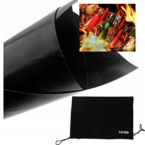 Kkika Non-stick Heat Resistant and Dishwasher Safe BBQ Grill Mat Set of 2 Mats