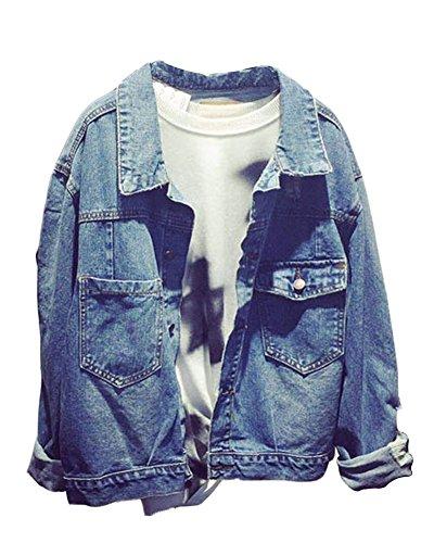 SaiDeng Donna Manica Lunga Monopetto Casual Giacca Di Jeans Strappato Blu S