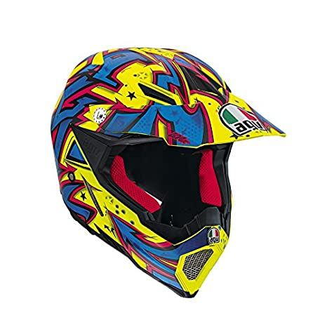 AGV Helmets 7511A2C0_022_L Casque Intégral AX-8 EVO E2205, Multicolore (Spray Jaune/Bleu/Orange), L
