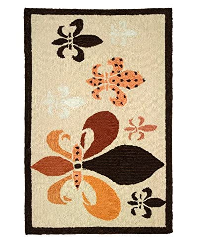 "Homefires Rugs Fancy Fleur De Lis, Beige/Black, 22"" x 34"""