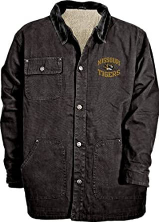 NCAA Mens Missouri Tigers Durango Brushed Canvas Sherpa Lined Workwear Jacket by Old Varsity