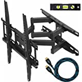 "Cheetah Mounts APDAM3B Dual Articulating Arm (14"" Extension) TV Wall Mount Bracket for 20-49 inch LCD, LED and Plasma Flat Screen TVs some up to 55 inch VESA 400x400 with Tilt, Swivel, and Rotation Adjustment, Including a Twisted Veins 10' Braided High Speed with Ethernet HDMI Cable and a 6"" 3-Axis Magnetic Bubble Level"