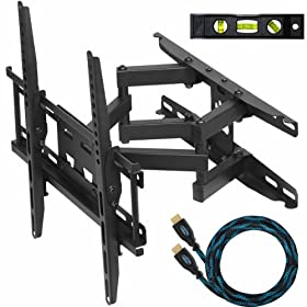 "Cheetah Mounts 20""-55"" Articulating LCD TV Wall Mount Bracket with Full Motion Swing Out Tilt & Swivel Dual Arms for Flat Screen Flat Panel LED Plasma Displays"