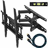 """Cheetah Mounts APDAM3B Dual Articulating Arm (14"""" Extension) TV Wall Mount Bracket for 20-49 inch LCD, LED and Plasma Flat Screen TVs some up to 55 inch VESA 400x400 with Tilt, Swivel, and Rotation Adjustment, Including a Twisted Veins 10' Braided High Speed with Ethernet HDMI Cable and a 6"""" 3-Axis Magnetic Bubble Level ~ Cheetah"""