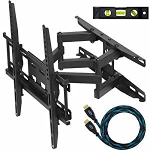 "Cheetah Mounts APDAM3B Dual Articulating Arm (14"" Extension) TV Wall Mount Bracket for 20-55 inch LCD, LED and Plasma Flat Screen TVs up to VESA 400x400 and 115lbs, with Tilt, Swivel, and Rotation Adjustment, Including a Twisted Veins 10' Braided High Speed with Ethernet HDMI Cable and a 6"" 3-Axis Magnetic Bubble Level"