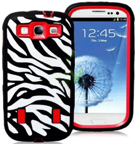 Mylife Black And Bright Red - Zebra Stripes Armor Series (Durable Built In Screen Protector + Urban Body Armor Glove) Case For Samsung Galaxy S3 Gt-I9300 And Gt-I9305 Touch Phone (Thick Silicone Outer Gel + Tough Rubberized Internal Shell)