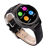 TESSAN S3 Smart Watch Leather Watch Strap MTK2502 Support Bluetooth 4.0 Player(MP3/MP4) SIM Card with for Ios Android (BLACK)