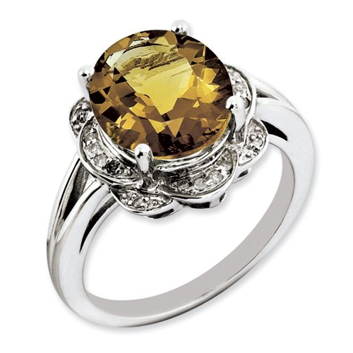Sterling Silver Whiskey Quartz & Diamond Ring