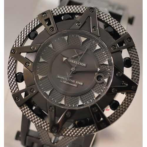 XOSKELETON Men's Limited Edition Automatic Superlative Star Black Sapphire Black IP Steel Watch