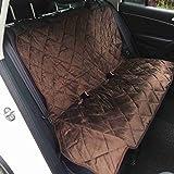 Lalawow ペット用ドライブ防水シート カバー 車後部座席 高品質撥水加工 フランネル 滑り止め 犬 (M, ブラウン)