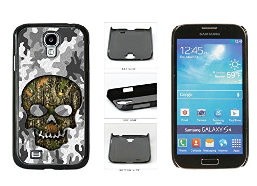 Human Skull With Camo Pattern Background Plastic Phone Case Back Cover For Samsung Galaxy S4 I9500 comes with Security Tag and myPhone Designs(TM) Cleaning Cloth