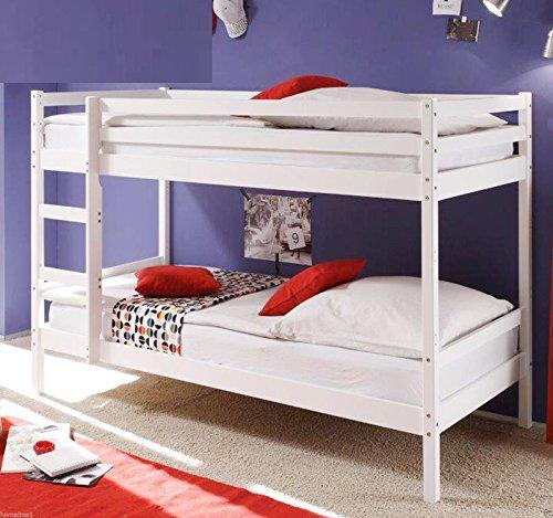 kinder etagenbett massiver kiefer 90x200 cm weiss. Black Bedroom Furniture Sets. Home Design Ideas