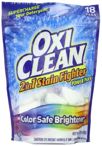 Oxiclean Max Force 2 In 1 Stain Fighter With Color Safe Brightener Power Packs, 18 Count