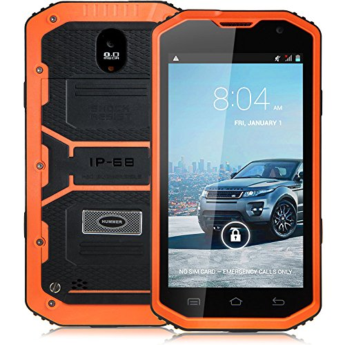 "Padgene 5"" Android 4.2 Wasserdicht 3G Robuste Dual Core Dual SIM Smartphone Touchscreen Handy Ohne Vertrag Mobiltelefon (Orange)"