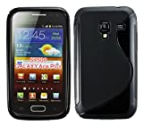 Cellmax Samsung Galaxy Ace Plus S7500 Gel Back Protection Case Cover Skin Pouch With S Line Pattern - Black