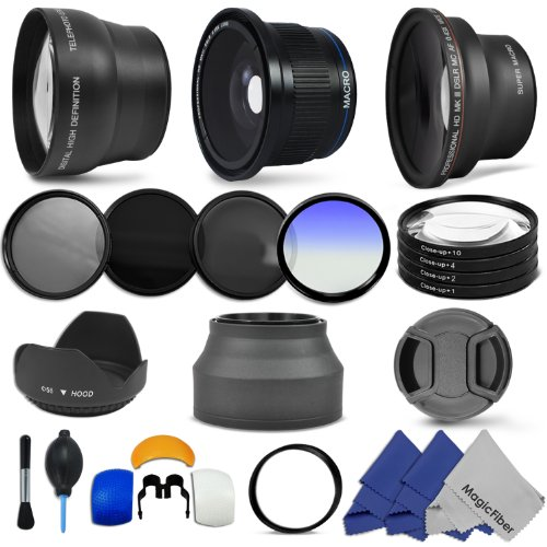 Accessory Kit for CANON PowerShot SX40 HS (SX30 SX20) IS – Includes: Lens Conversion Adapter + Professional .40x Super Wide Fisheye Lens + 0.43x Wide Angle Lens + 2x Telephoto Lens + Filter Kit (UV, CPL, ND8) + Macro Close-Up Set + Blue Color Filter + Hard Tulip Lens Hood + Collapsible Lens Hood + Center Pinch Lens Cap + Flash Diffuser Set + Lens Cleaning Kit + 3 MagicFiber Microfiber Cleaning Cloths