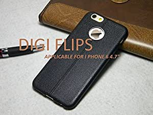 Apple iPhone 6 6S Back case cover -Leather pattern- BLACK
