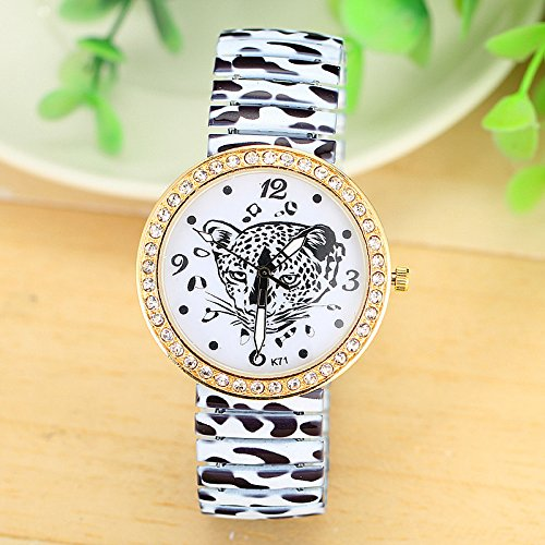 Europe Fashion Gift Women Men Full Print Charming Leopard Rhinestones Gold Bracelet Watch Hh1241