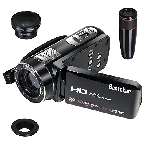 Besteker Protable HDMI 1080p 24.0 Megapixels 120X Digital Zoom Video Camcorder DV 3.0 TFT LCD Rotation Touch Screen Video Recorder with Remote Control and Face Detection Function + 12x Teleconverter & Wide Angle Lens