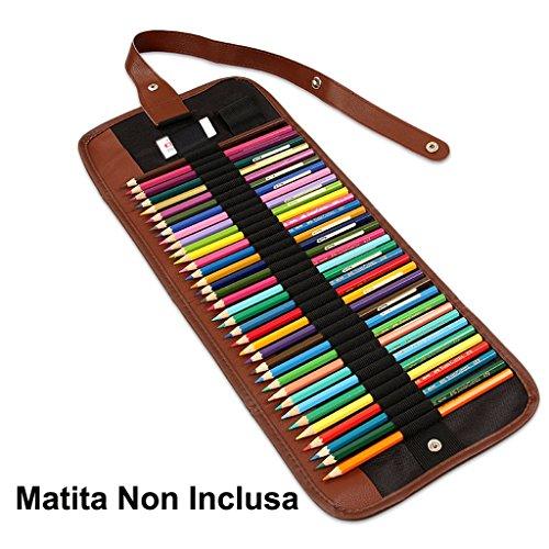 Hipiwe Tela Matita Wrap Astuccio da 48 Matite Accessori Roll Multiuso Sacchetto per Ufficio Scolastico Art (NO Pencils