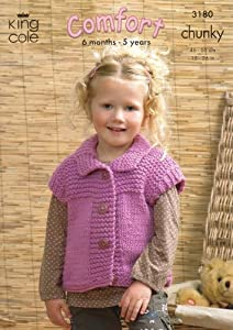 Chunky Knit Childrens Patterns Free : King Cole Childrens Sweater, Gilet & Jacket Comfort Chunky Knitting ...