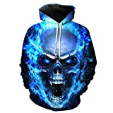 Men's Blouse,3D Printed Skull Pullover Long Sleeve Hooded Sweatshirt Tops Blouse (M)