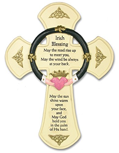 Irish Wall Cross - Traditional Irish Blessing Saying Printed on a Cross Wall Hanging - Claddagh Design - Stone Look - Wall Hanging - Irish Decor