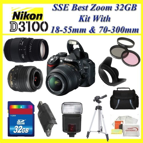 Nikon D3100 Digital SLR Camera with Nikon 18-55mm f/3.5-5.6G ED II AF-S DX Zoom-Nikkor Autofocus Lens