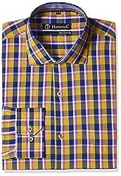 Hancock Men's Formal Shirt (43324Yellow-Blue_40)