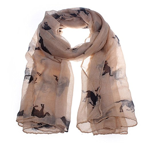 Coromose Women Running Horse Print Long Scarf Shawl Wrap Stole Voile (Coffee)