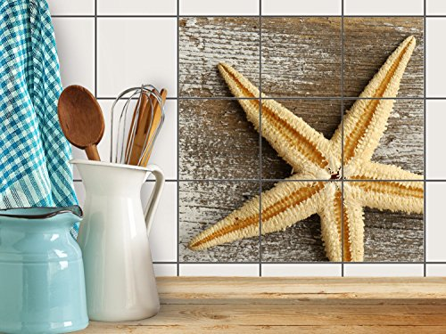 fliesenfolie selbstklebend 15x15 cm 3x3 design starfish. Black Bedroom Furniture Sets. Home Design Ideas