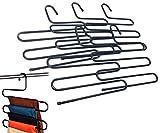 【KUENTAI】S字型 スラックス ハンガー これ1本でクローゼットがすっきり 段に収納するので片付けやすく見つけやすい! しわになりにくい パンツ ズボン類のクローゼットの整理整頓に ボトムス デニム スーツ 収納 衣類 ラック ロゴ入りパッケージ (5本)