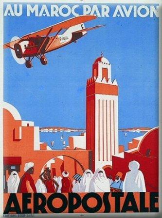 franzosich-vintage-plakat-50x70cm-retro-werbung-marokko-mit-flugzeug-aeropostale
