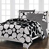 Loft Style Spot The Dot Modern Bedding Comforter Set, Black, Twin