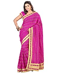Designer Glorious Magenta Colored Embroidered Faux Georgette Saree By Triveni