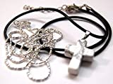 ペンダント クロス 十字架 水晶 ホワイトマーブル チェーン 皮ひも セット