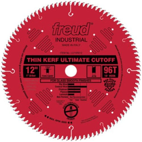 Freud LU74R012 12-Inch 96-Tooth ATB Thin-Kerf Cut-Off Saw Blade with 1-Inch Arbor and PermaShield Coating (12 96 Tooth Saw Blade compare prices)