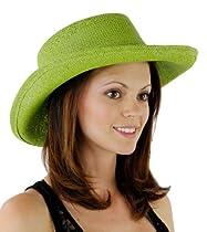 Fabulous Straw Gambler Style Hat (Lime Green)