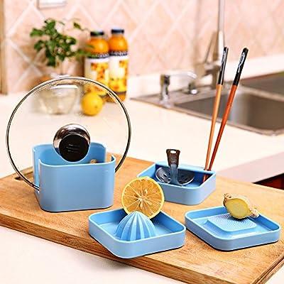 DTlife Multifunctional Pot Pan Cover Stand Lid Spoon Rest Holder Garlic Grinder Storage Rack,Set of 4