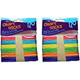 Darice 9150-82 Wood Craft Colored Stick, 4-1/2-Inch, 2 Packs of 120-Each Pack, Total 240
