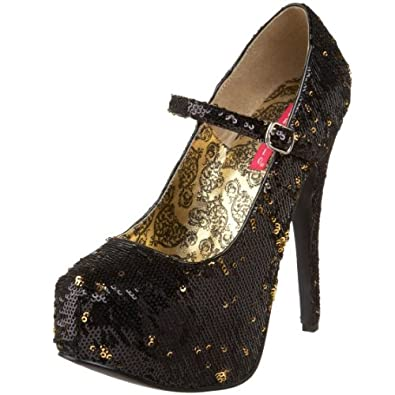 Bordello by Pleaser Women's Teeze-07Sq Pump,Black/Gold Sequins,12 M US