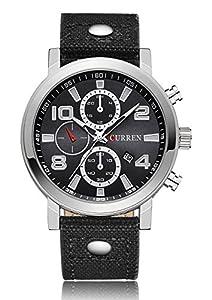 CURREN Men's Analog Quartz Date Calendar Leather Band Waterproof Sport Casual Wrist Watch Black