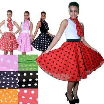 "Womens 50s Rock n Roll Swing Circle Skirt & Scarf Fancy Dress Costume UK 8-14 M/L 26"" PINK/WHITE"
